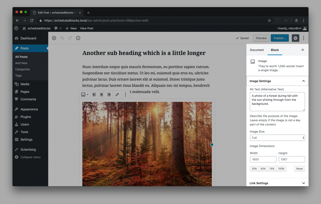 A screenshot of the gutenberg editor, with the block sidebar highlighted.