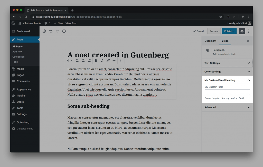 A screenshot of the gutenberg editor, with a new custom panel in the block sidebar highlighted.