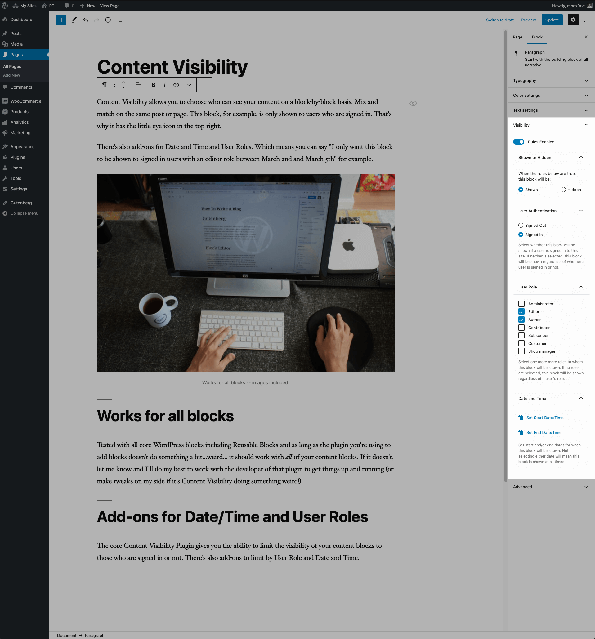 A screenshot of the WordPress content editor a part of the sidebar highlighted. The highlight contains extra controls for the selected paragraph which allows the content author to limit when and to whom the paragraph is shown.
